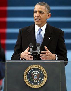 President Obama delivering his 2013 inaugural address