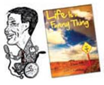 """Cartoon Image of Jeff with a mic next to his book, """"Life is a Funny Thing""""."""