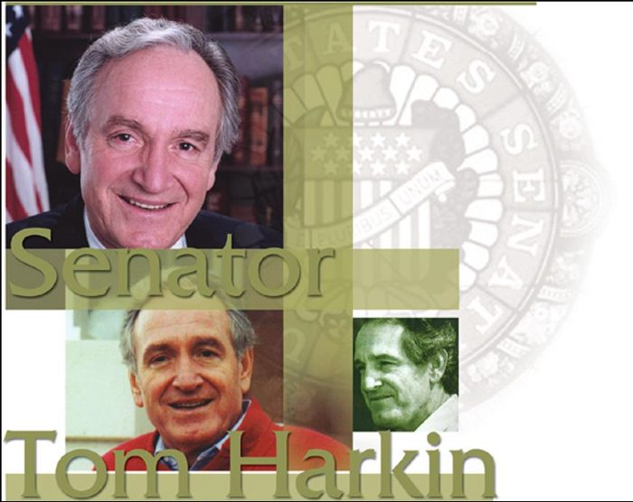 Senator Tom Harkin images at different ages in his history of service.