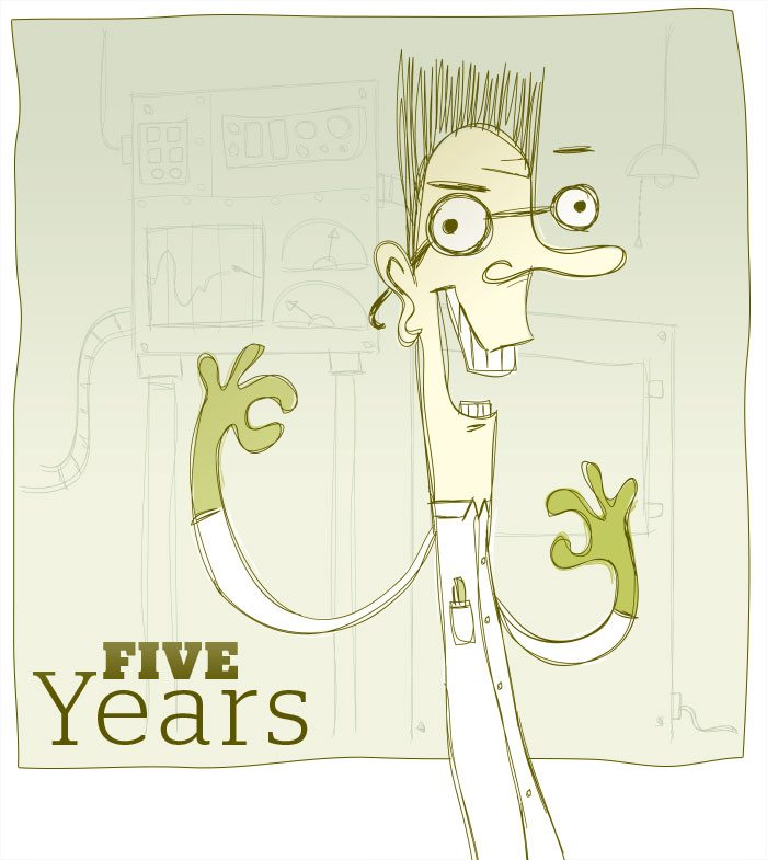 Cartoon character of mad scientist with bulging eyes