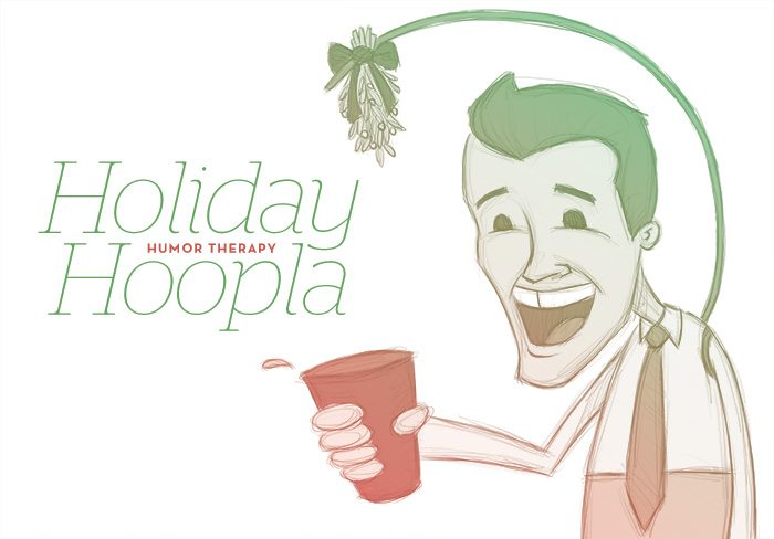 Cartoon image of a Smiling man with a cup of cheer and mistletoe hanging over his head