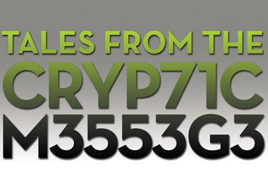 Image of Tales from the CRYP71C M3553G3, a cryptic message in green