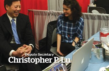Department of Labor Deputy Secretary Christopher P. Lu. Image: Deputy Secretary Lu laughs and has a great time with Lia Martirosyan while attending the CSUN Technology and Persons with Disabilities conference.