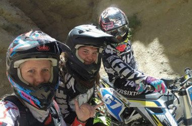 Selfie Image of Ashley Fiolek, Her friend Ash and her manager, Miki, in motocross biker gear