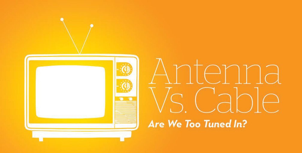 Title: Are We Too Turned On? Graphic of a white glowing old-time television on an orange background.
