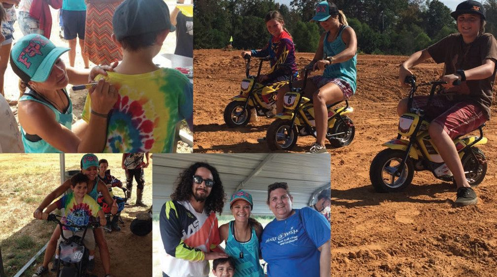 Image1: Ashley signs the back a boy's tye-dyed T-shirt. Image2: Ashley takes photos with friends. Image3: Ashley and friends ride mini dirt bikes.