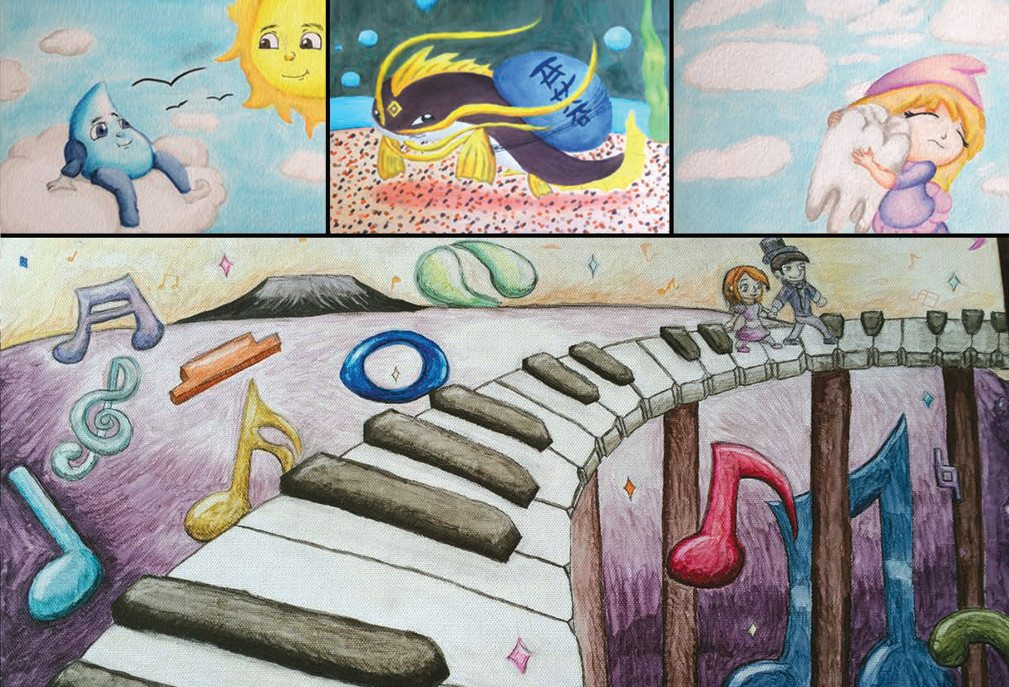 Dani's Atwork: Top-right: Blue raindrop character sits on a puffy cloud looking at the sun characher. Top-middle: Catfish with golden fins carries blue egg on back. Top-right: small girl hugs a large tooth. Bottom image: Piano bridge on stilts atop a purple valley filled with colorful musical symbols.