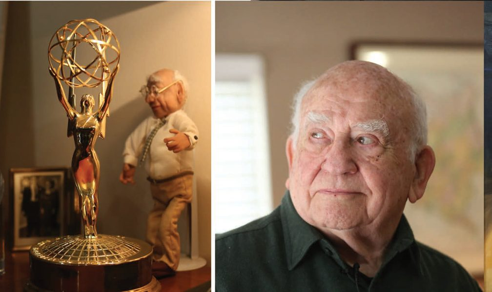 "Left image: Tiny Ed Asner doll standing behind Emmy Award statue. Right Image: Head shot of Asner giving the ""side-eye""."