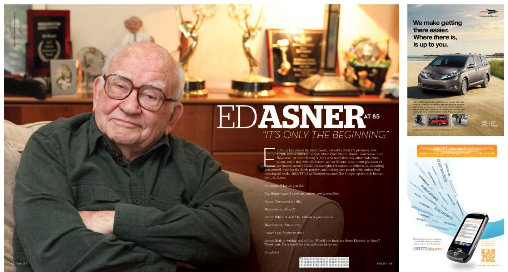 Ed Asner seated with arms crossed and wry smile with a backdrop of various awards on a cabinet