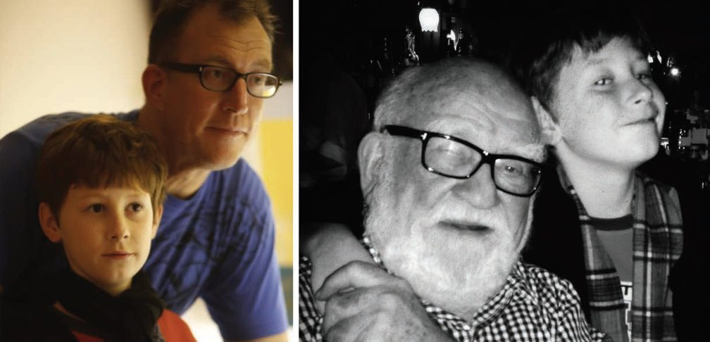 Image left: Matthew Asner close behind his son Will. Image right: Will Asner with arm around a bearded grandpa Asner