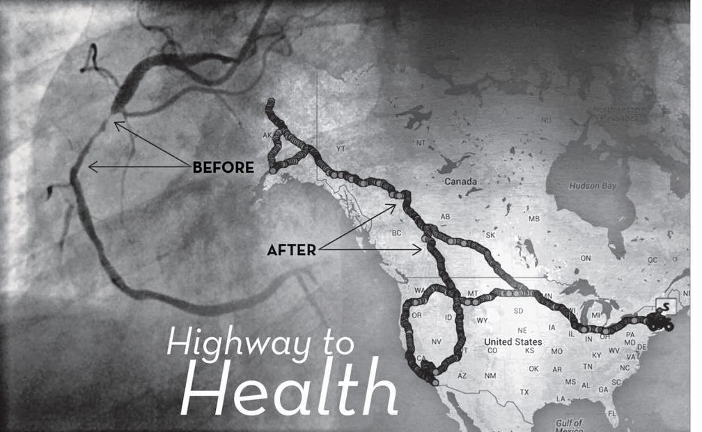 Title: Highway to Health. Image: Gray Map of where Paul has driven through the US and Canada on right, Left is the gray and black image of Paul's arteries and veins
