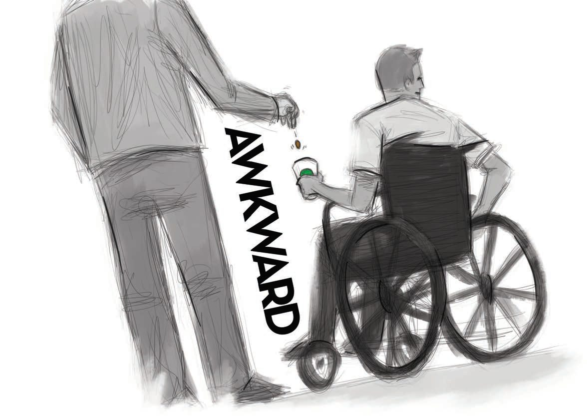 Cartoon Image: Man drops coins into cup of man in a wheel chair, who is looking away. The word awkward is diagonal between the men.