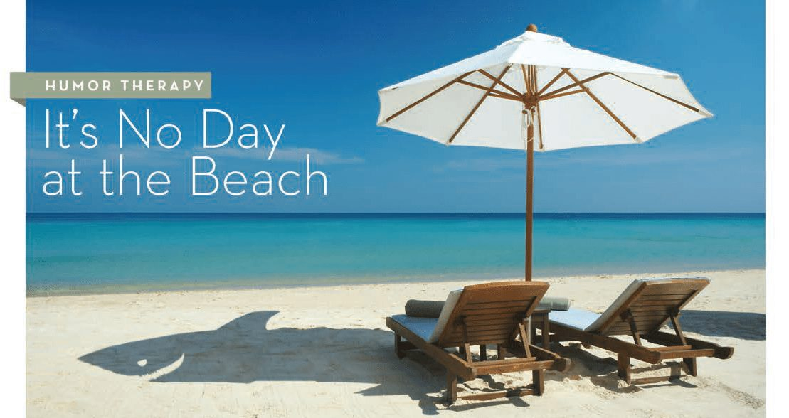 Title: Its No Day at the Beach. Image: Two lounge chairs under a white umbrella on the light sand beach with backdrop of bluegreen water and clear blue sky.