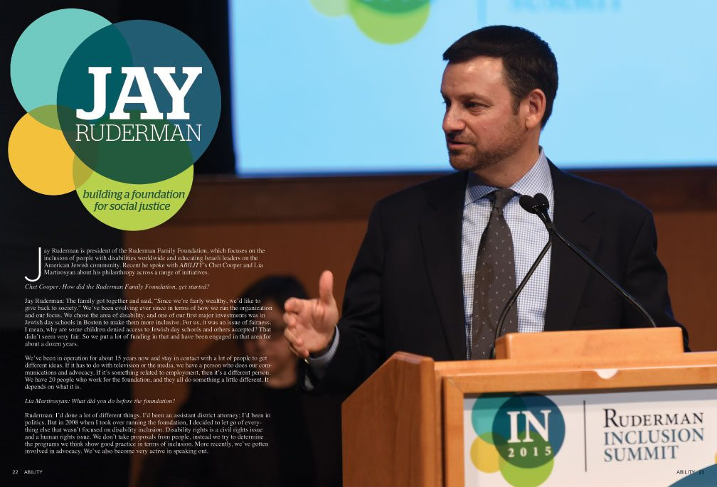 Title: Building a Foundation for Social Justice. Image Jay Ruderman speaks at the Ruderman Inclusion Summit.