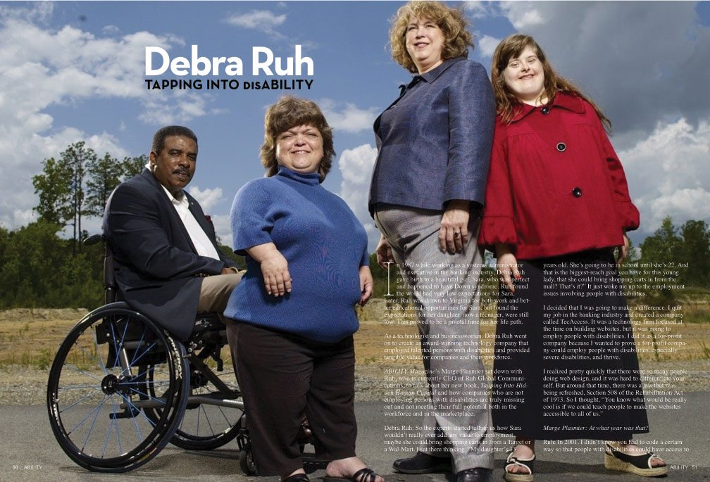 Title: Tapping Into Disability. Image: Debra Ruh stands with diverse members of the TecAccess team.