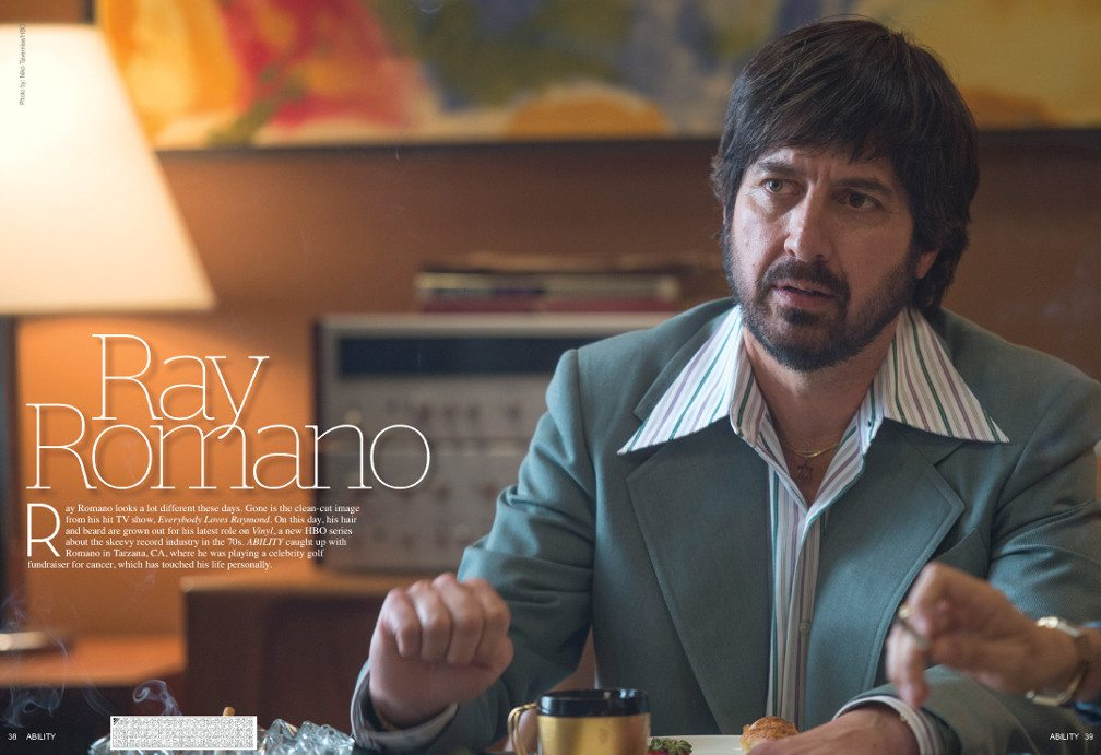Ray Romano in a scene for the HBO show,Vinyl, sporting a blue leisure suit stylish for the 1970's.