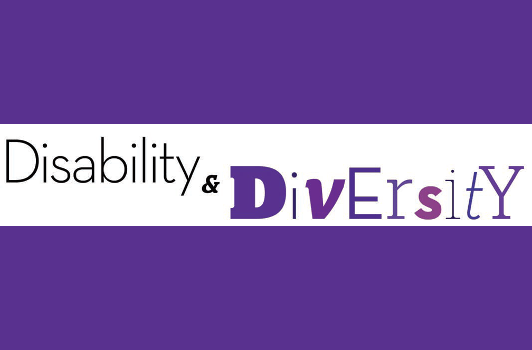 Disability and Diversity, Purple letters on white background
