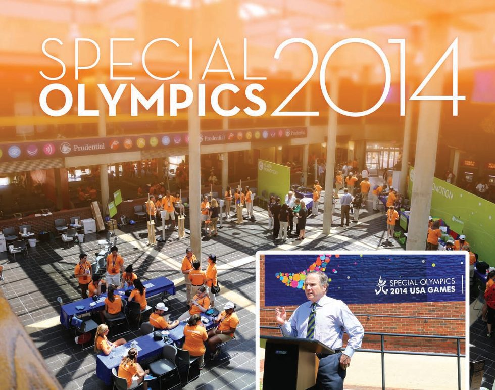 Title: Special Olympics 2014 View from the second floor of a wide open facility for Special Olympic activities. Right-inset: Speaker at the healthy Athletes ribbon cutting ceremony.