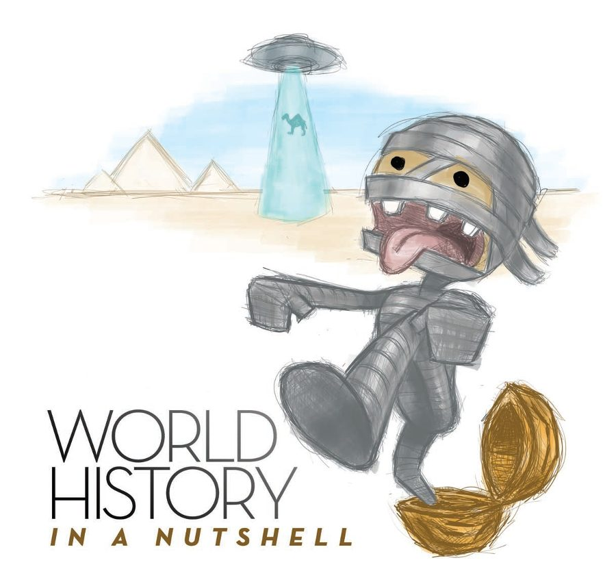 Title: World History in a Nutshell. Image: Cartoon character of gray wrapped up mummy walking out of a nutshell.