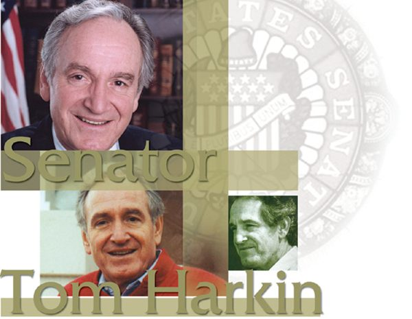 Senator Tom Harkin - Three images of Sen Harkin's face smiling at present and younger times in his career.