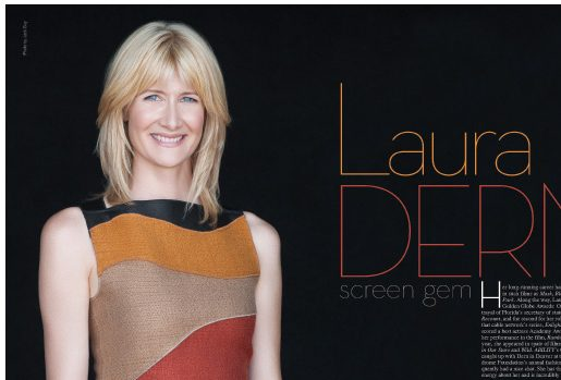 Laura Dern with brown background