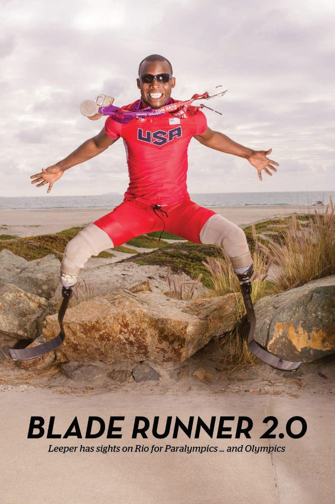 Blade Runner 2.0. Blake Leeper jumps with legs and arms spread, gold medals flying against the backdrop of rock hill and ocean behind,