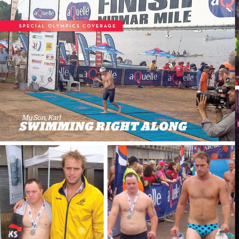 Title: My son, Karl, Swimming Right along. Image top Karl exits the water and crosses finish line. Bottom-left: Karl and brother Marcus at Midmar Mile. Bottom-left: Karl walks with Marcus