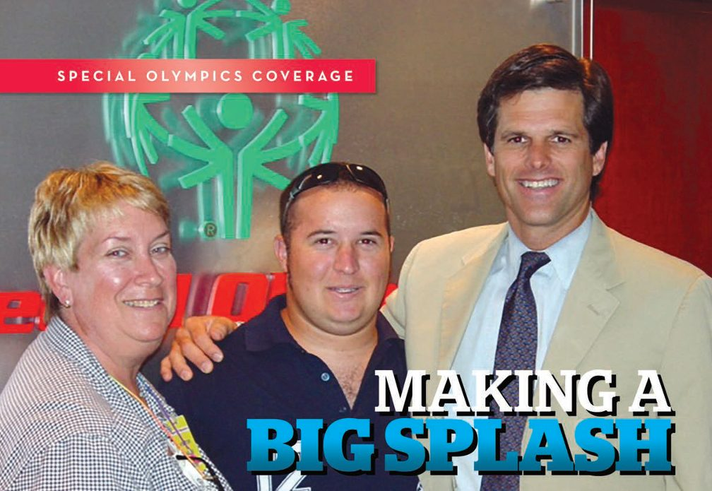 Title: Macking a Big Splash. Image Mati smiles as he stands between his mom (left) and Tim Shriver (right) with Special Olympics logo in background