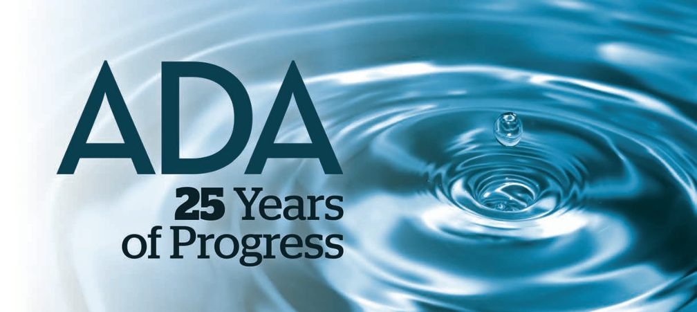 Title:ADA--25 Years of Progress Image Dark blue letters with a backgrount of water dropping, creating surface circles.