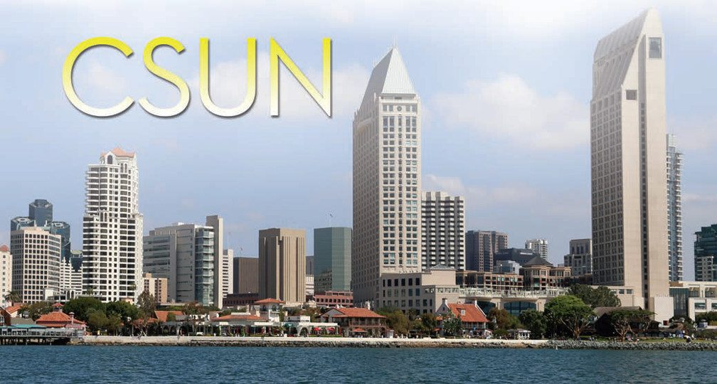 Title: CSUN. Image: Skyline of San Diego, tall light buildings on the inlet with a blue and white puffy sky bacground