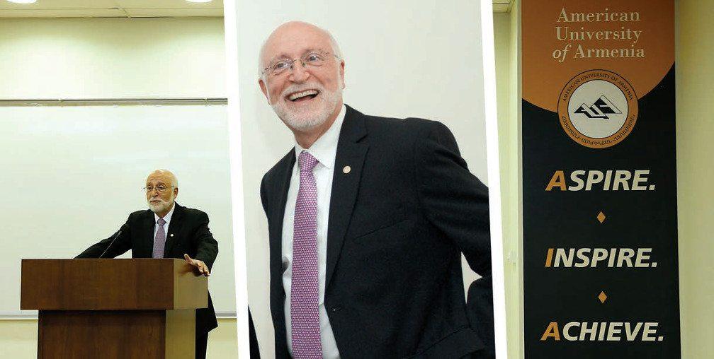 Left: Dr. Armen Der Kiureghian speaks behind podium. Center: Dr. Der Kiureghian laughing. Right: Sign that reads: American University of Armenia- Aspire, Inspire, Achieve