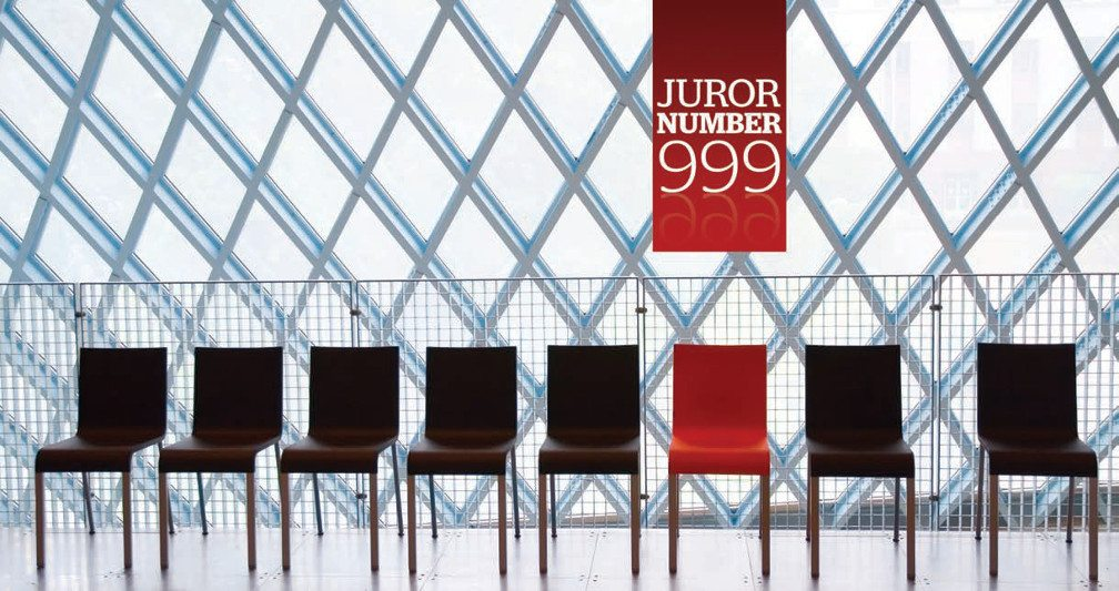 Title: Juror Number 999. Image: A line of strait back seats sits against a metal criss-crossed background, all are black leather except the red one.