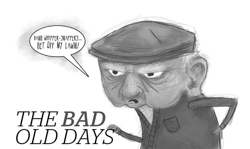 "Cartoon Image of an angry older gentleman with a cap saying ""Dang whipper-snappers...get off my lawn!"""