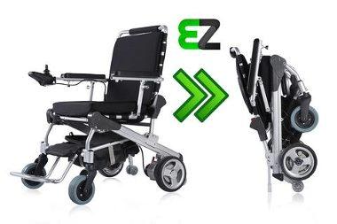 EZ Lite Cruiser Wheelchari with controls and wheelchair folded flat
