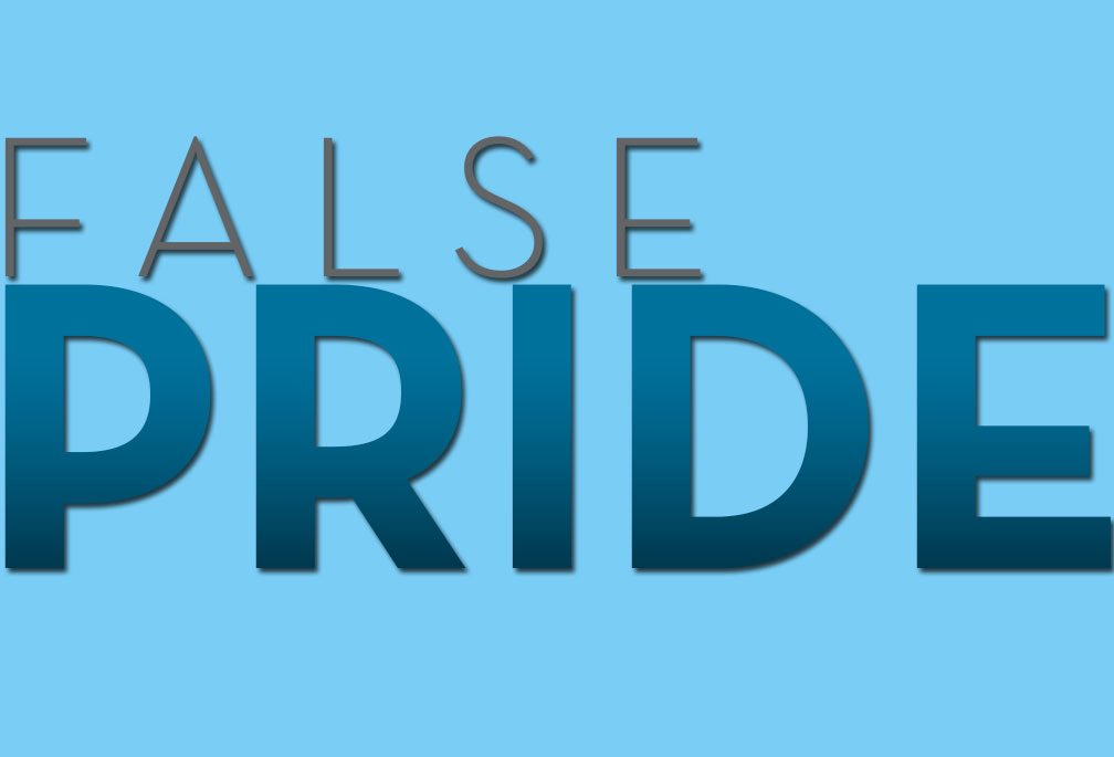 False Pride, Image of bold dark blue letters on light blue background