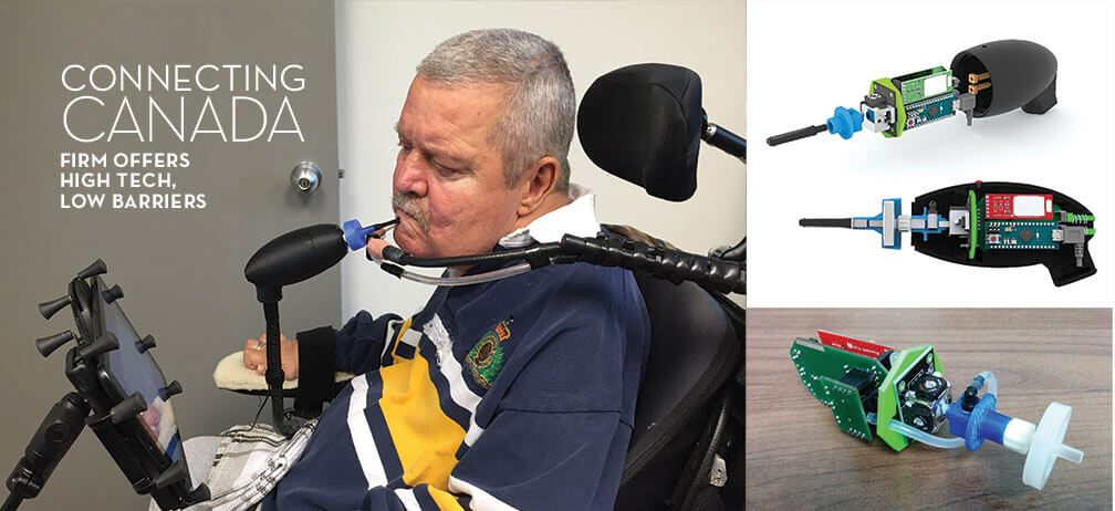 Connecting Canada: Firm Offers Hi Tech, low barriers. Image of many in wheel chair using a tablet by moving a stylus with his chin.