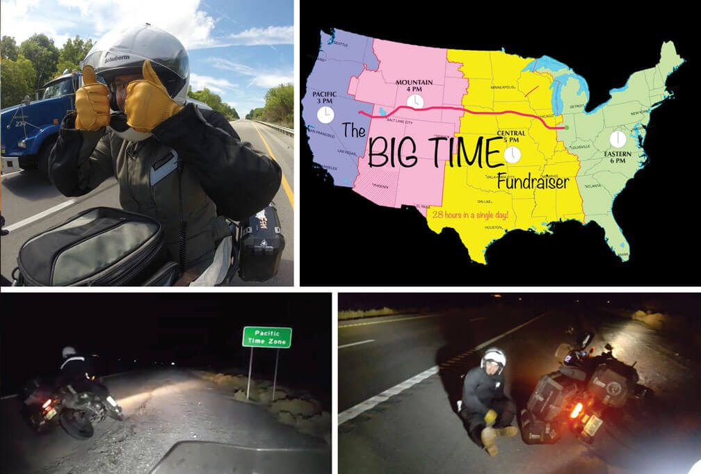 """Image 1: Long Haul Paul gives thumbs up on the road, Image2: Map of USA, """"the big time fundraiser"""", Image 3 Paul on the side of the road at night. Image 4 Paul sitting on the ground next to motorcycle at night."""