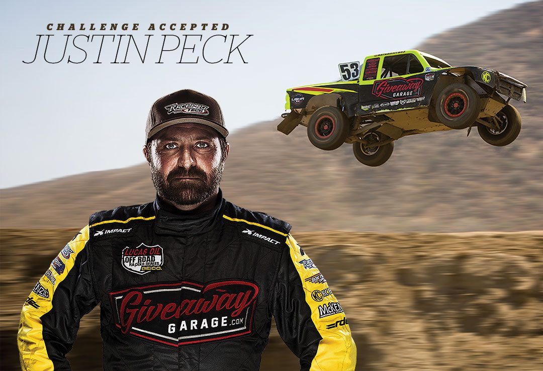 Challenge Accepted -Justin Peck in racing jacked and cap. Background image of Peck riding in airborne truck over dirt track.