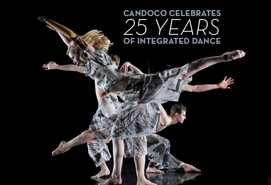 Candoco Celebrates 25 years of Integrated Dance. Image: Against a a black background, dancers in gray flowing outfits pose with arms, legs and bodies reaching to right and left.