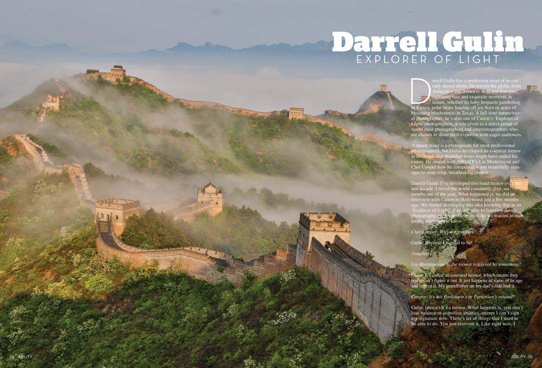 Darrell Gulin Canon's Explorer of Light picture of the Great China Wall surrounded by trees and misty clouds.