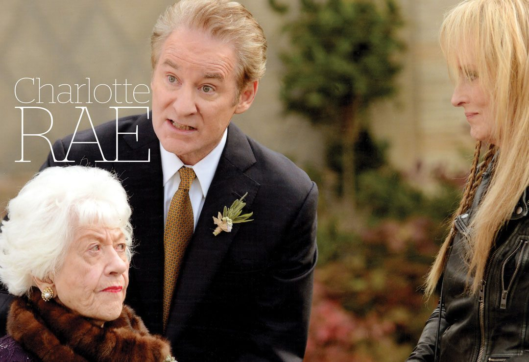 Charlotte Rae with Meryl Streep and Kevin Kline during filming of Ricki and the Flash