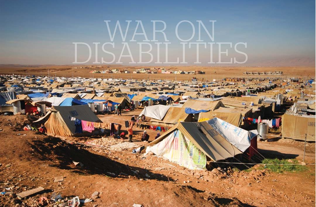 Refugee camp, rows and rows of tents on red soil