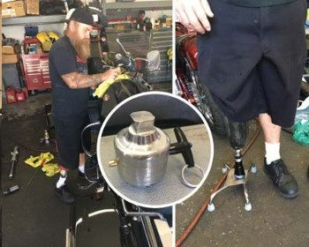 Showering on Two legs. Image of Biker working in a shop and a prosthesis prototype with four legs