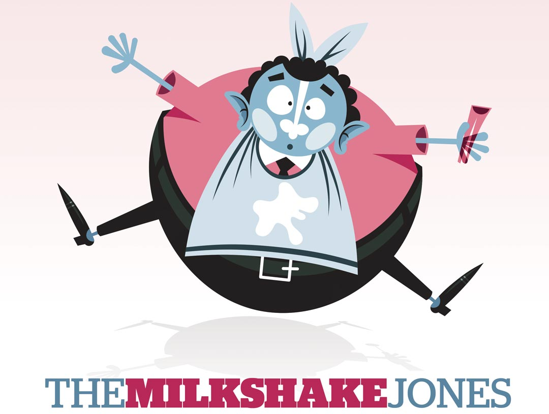 The Milkshake Jones. Cartoon image of a round, bubble like man wearing a bib is suspended in the air, with arms and legs outstretched