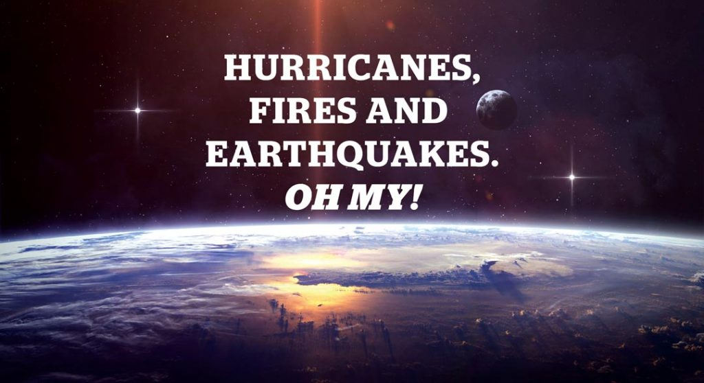 Title: Hurricanes, Fires and Earthquakes, Oh My! Image of earth's surface in space.