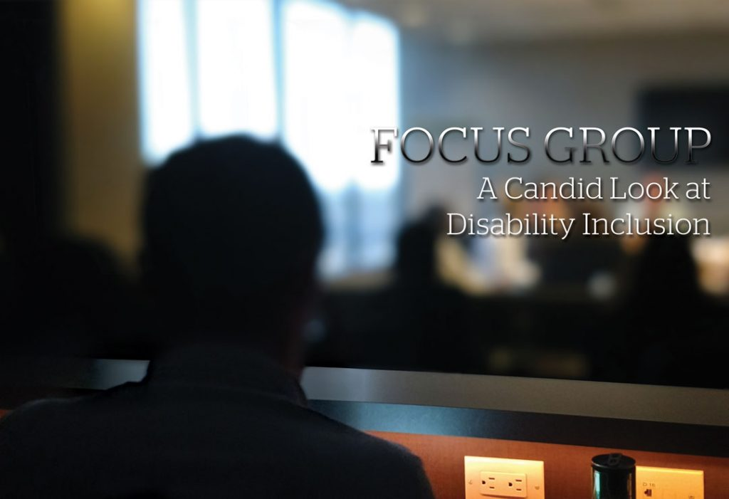 Focus group disability inclusion; Blurred image of a man watching people at a conference table