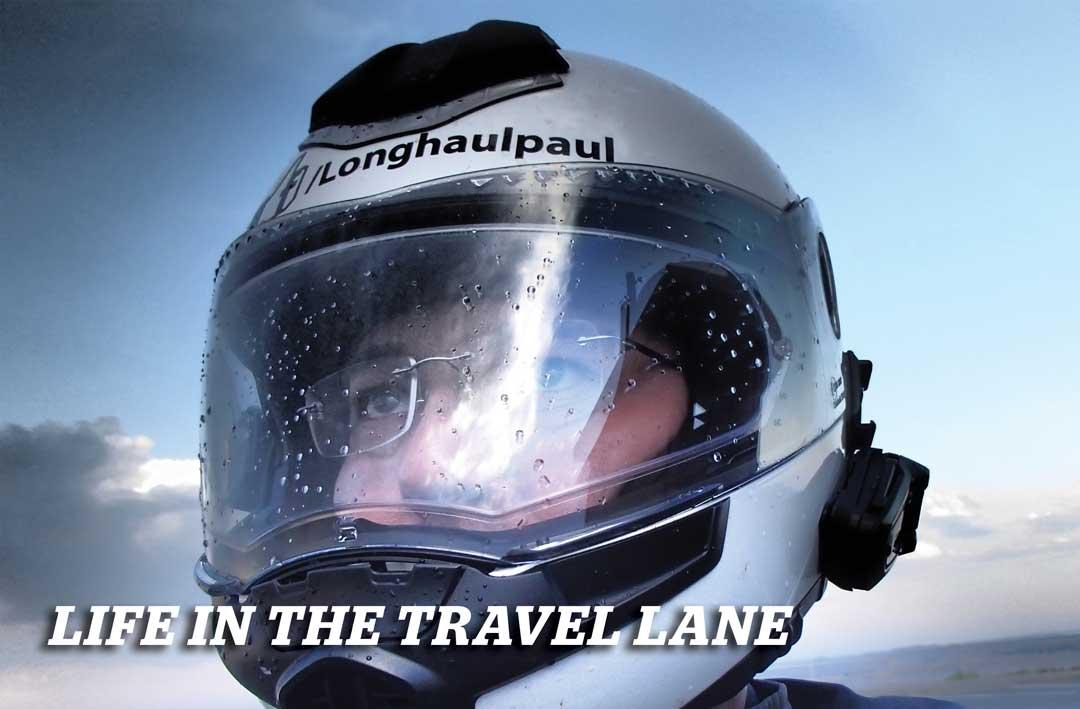 In the Travel Lane: Paul in helmut