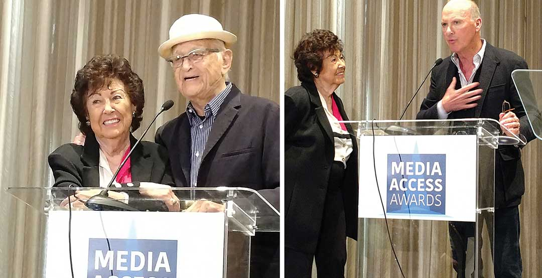 Norman Lear and Michael Keaton presenting Fern the Lifetime Achievement Award from Media Access
