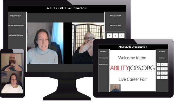 ABILITYJOBS.ORG platform screens showing career fair