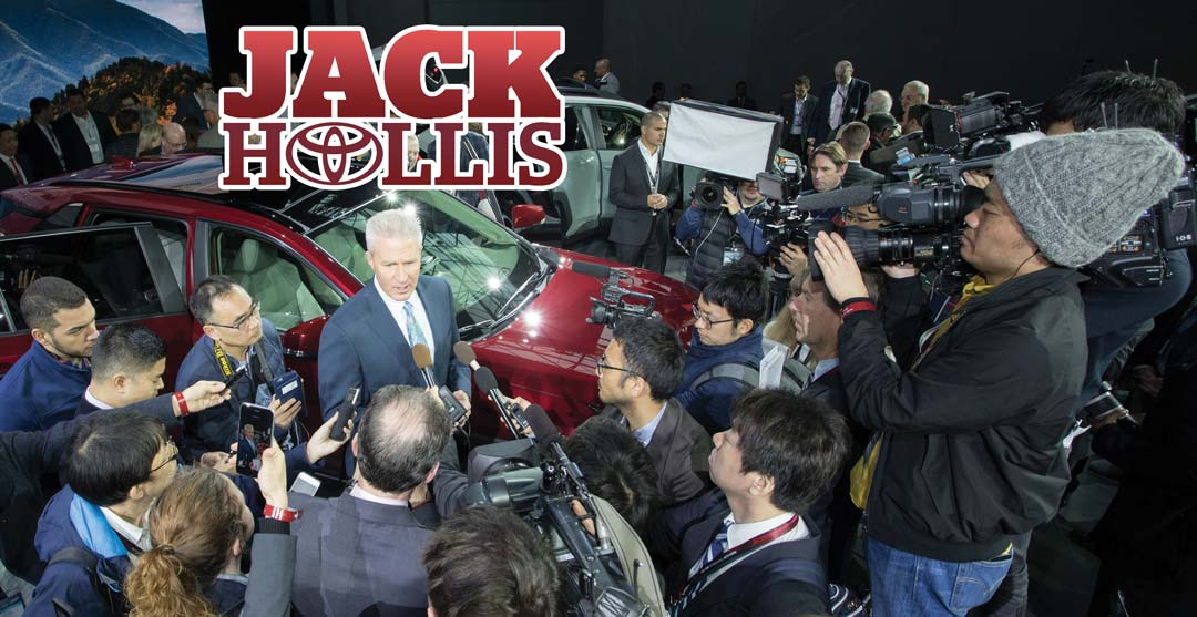 Jack Hollis of Toyota surrounded by press